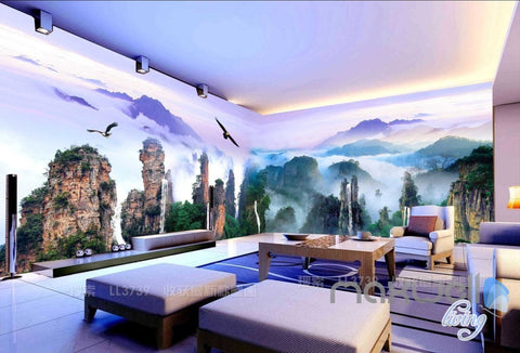 Image of 3D Mountains Rocks Clouds Entire Living Room Business Wallpaper Wall Mural Art IDCQW-000277