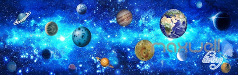 Image of 3D Solar Earth Planets Unvierse Entire Living Room Bedroom Wallpaper Wall Mural IDCQW-000278