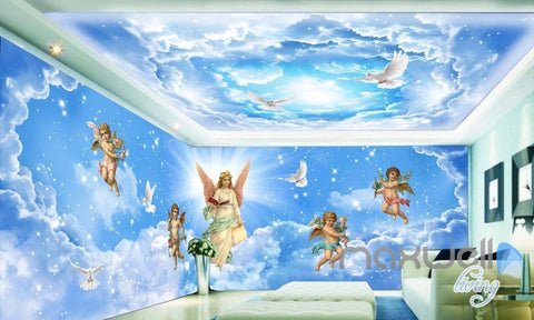 3D Angels Sky Heaven Clouds Pegion Entire Living Room Bedroom Wallpaper Wall Mural IDCQW-000279