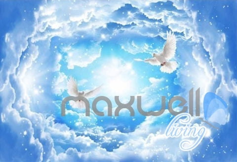 Image of 3D Angels Sky Heaven Clouds Pegion Full Living Room Bedroom Wallpaper Wall Mural  IDCQW-000279
