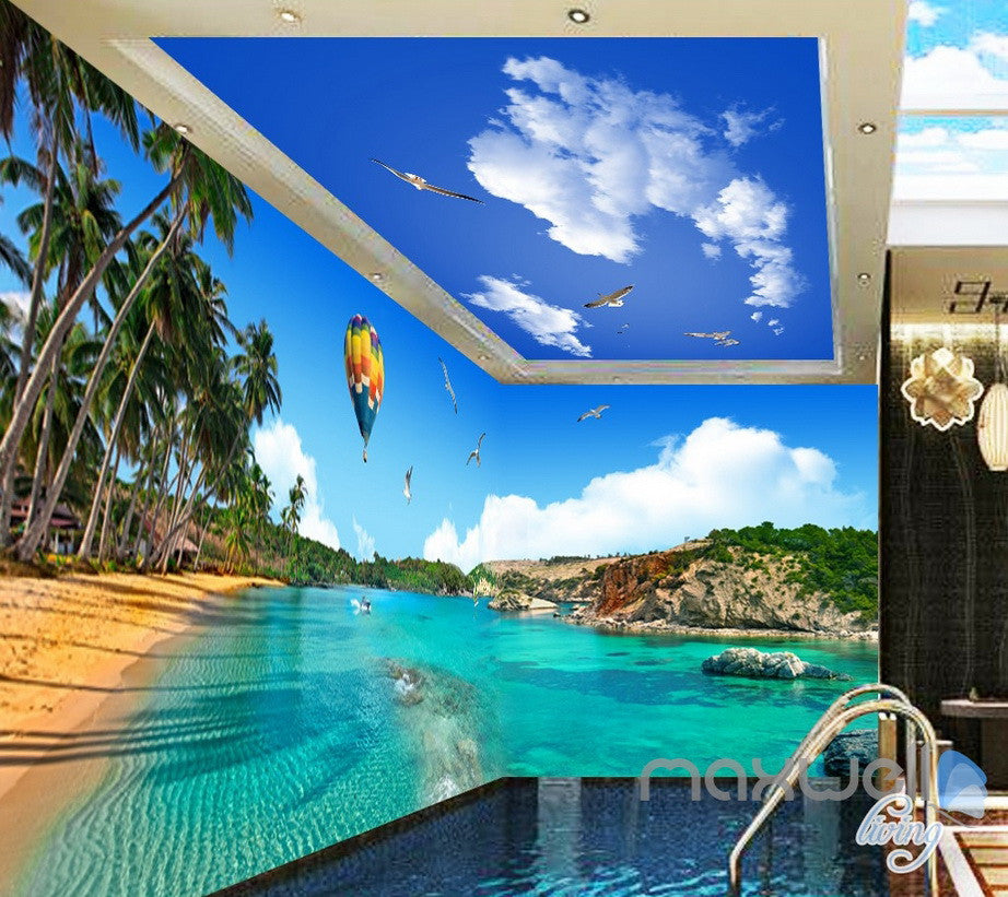 3D Palm Bay Beach Hot Airballoon Entire Living Room Business Wallpapaer Wall Mural  IDCQW-000282