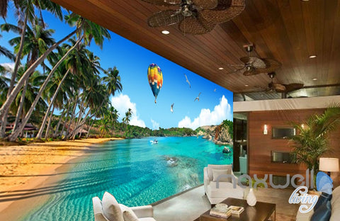 Image of 3D Palm Bay Beach Hot Airballoon Entire Living Room Business Wallpapaer Wall Mural  IDCQW-000282