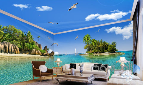 Image of 3D Island Rocks Seagull Birds Entire Living Room Business Wallpaper Wall Mural Art IDCQW-000283