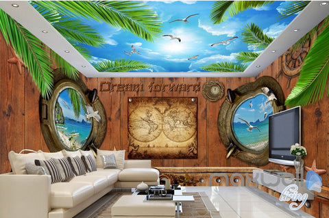 Image of 3D Portholes Wood Sea Map Entire Living Room Business Wallpaper Wall Mural Art IDCQW-000286