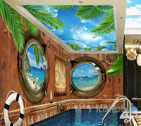 3D Portholes Wood Sea Map Entire Living Room Business Wallpaper Wall Mural Art IDCQW-000286