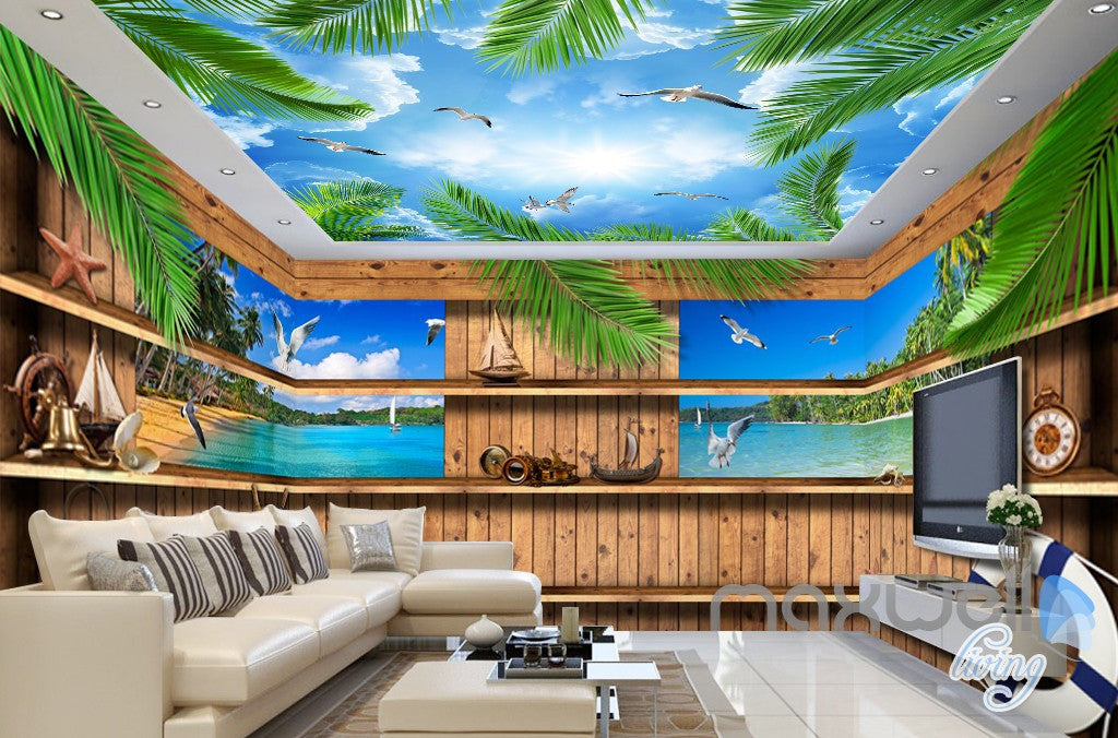 3d Wood Cabin Inside Windows Beach Entire Living Room Business Wallpap Idecoroom