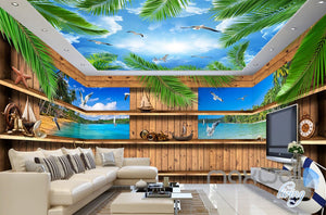 3D Wood Cabin Inside Windows Beach Entire Living Room Business Wallpaper Wall Mural IDCQW-000288