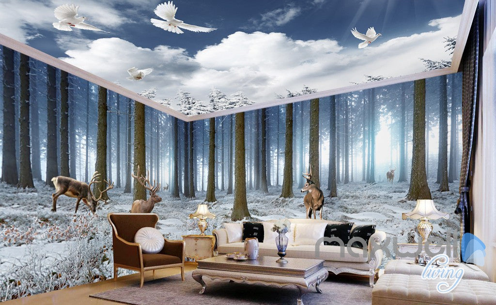 3d winter forest erk entire living room bedroom wallpaper for Winter wall murals