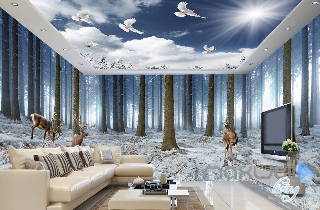 3D Winter Forest Erk Entire Living Room Bedroom Wallpaper Wall Mural Art Prints IDCQW 000289