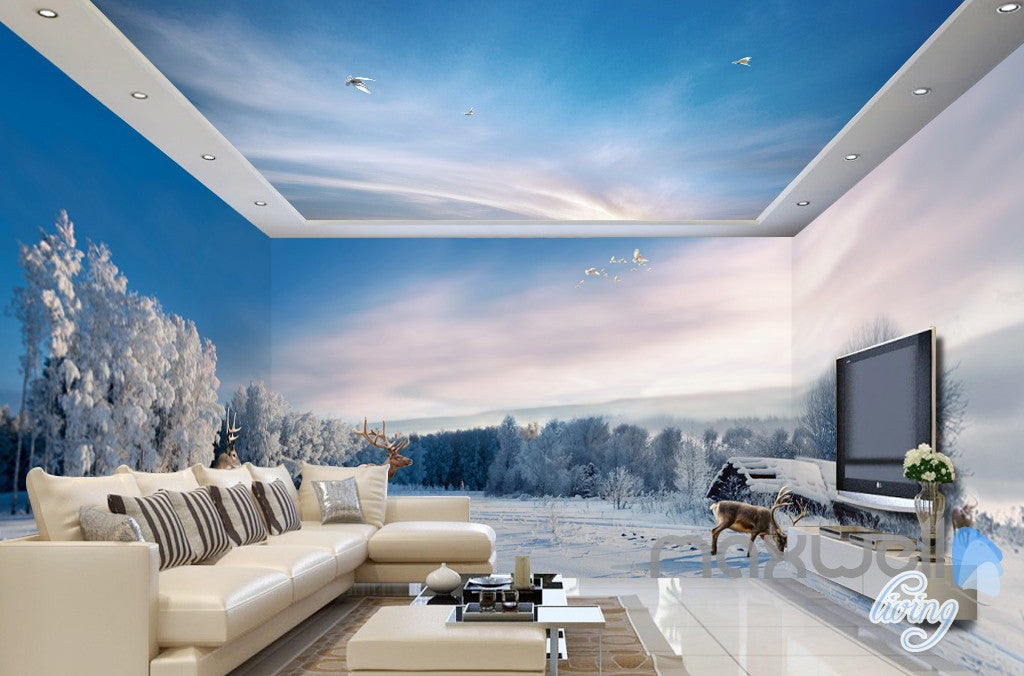 3D snow winter tree nature Wall Paper Print Decal Wall Deco Indoor wall Mural
