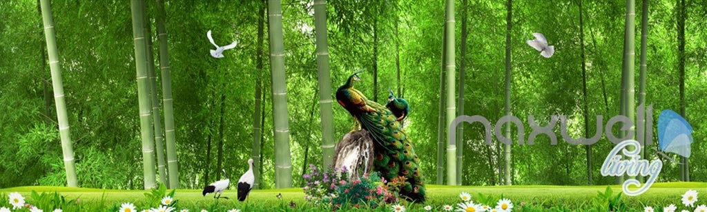 3D Bamboo Forest Peacock Entire Living Room Bedroom Wallpaper Wall Mural Art Prints IDCQW-000291