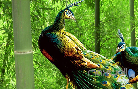 Image of 3D Bamboo Forest Peacock Entire Living Room Bedroom Wallpaper Wall Mural Art Prints IDCQW-000291