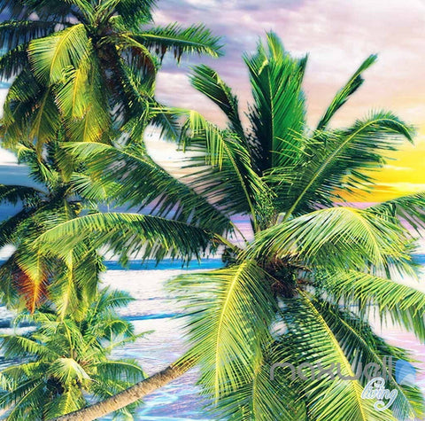 Image of 3D Tropical Island Resort Cabins Entire Living Room Wallpaper Wall Mural Art Prints IDCQW-000292