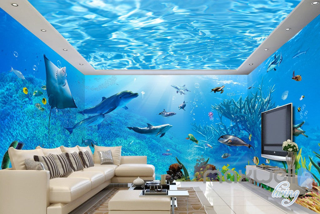 Lovely 3D Underwater Rays Fish Shimmering Water Ceiling Entire Living Room  Wallpaper Wall Mural IDCQW 000293