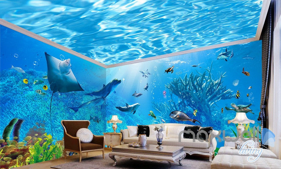 3D Underwater Rays Fish Shimmering Water Ceiling Entire