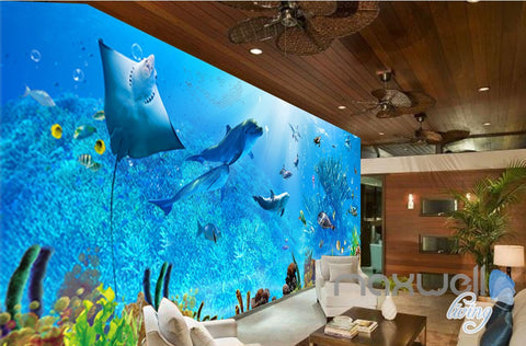 Image of 3D Underwater Rays Fish Shimmering Water Ceiling Entire Living Room Wallpaper Wall Mural IDCQW-000293