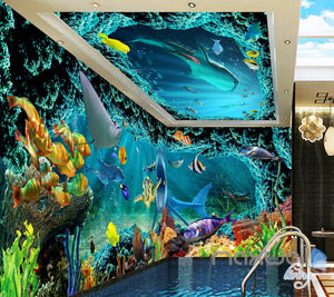 3D Shark Chasing Turtle Entire Living Room Bathroom Wallaper Wall Mural Art Prints IDCQW-000294
