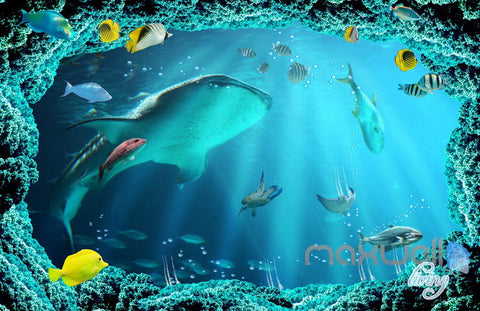 Image of 3D Shark Chasing Turtle Entire Living Room Bathroom Wallaper Wall Mural Art Prints IDCQW-000294