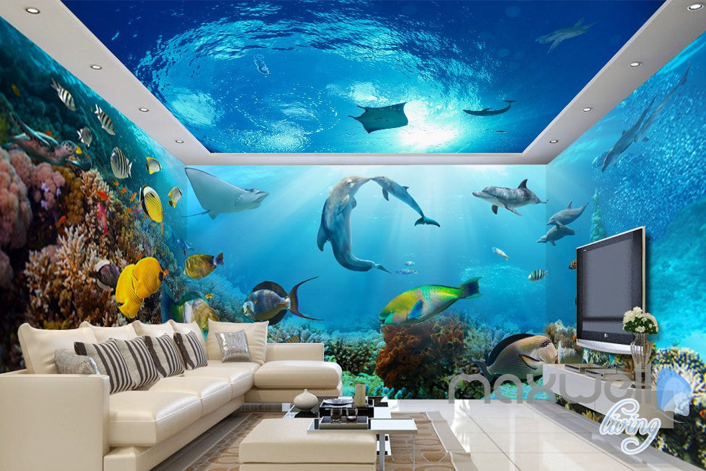 3d tropical fish coral underwater entire living room for 3d wallpaper for bathroom