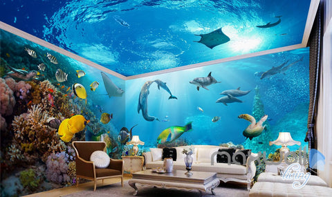 Image of 3D Tropical Fish Coral Underwater Entire Living Room Bathroom Wallpaper Wall Mural Decal IDCQW-000295