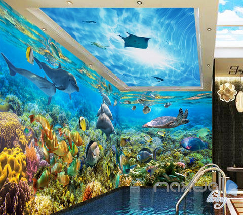 Image of 3D Dophins Playing Coral Reef Entire Living Room Bathroom Wallpaper Wall Mural Decal IDCQW-000296