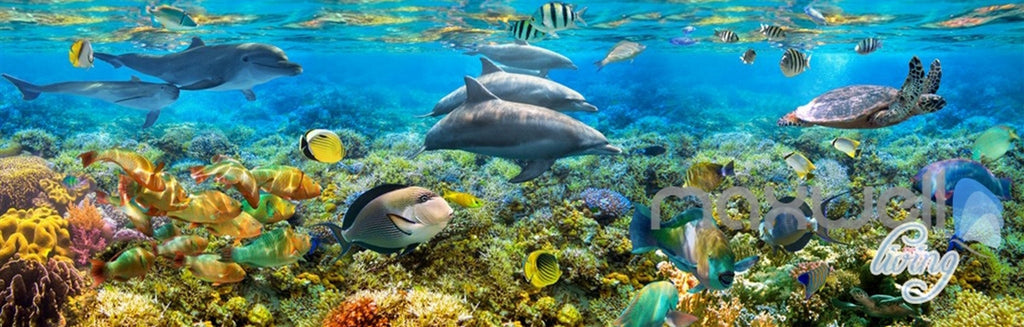 3D Dophins Playing Coral Reef Entire Living Room Bathroom Wallpaper Wall Mural Decal IDCQW-000296