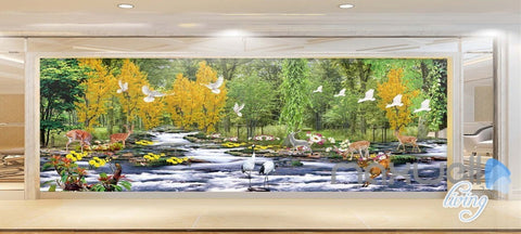 Image of 3D Forest River Deer Entire Living Room Bedroom Wallpaper Wall Mural Decal Art Prints IDCQW-000297