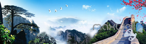 3D Huangshan Mountain Pine The Great Wall Entire Living Room Wallpaper Wall Mural Decal IDCQW-000298