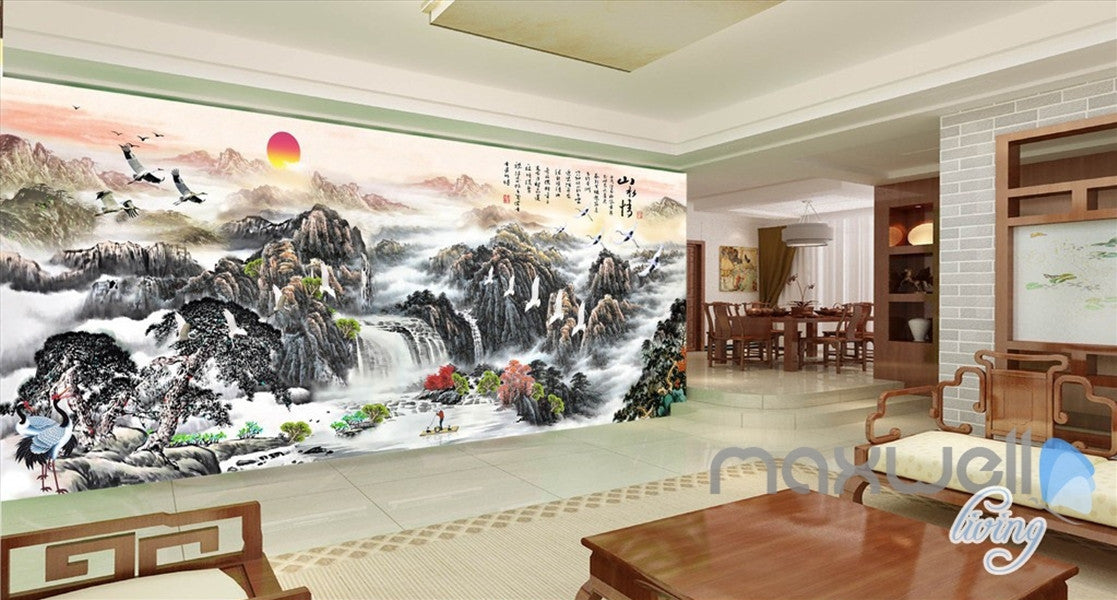 3d classic chinese style mountain sunrise entire living for Chinese wallpaper mural