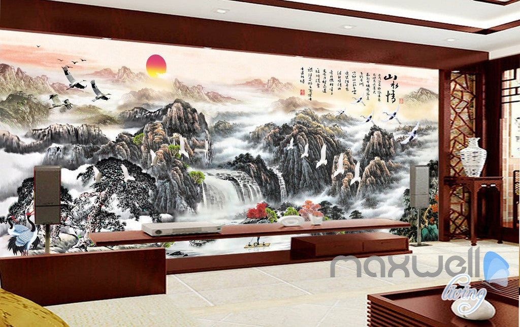 3d Classic Chinese Style Mountain Sunrise Entire Living Room