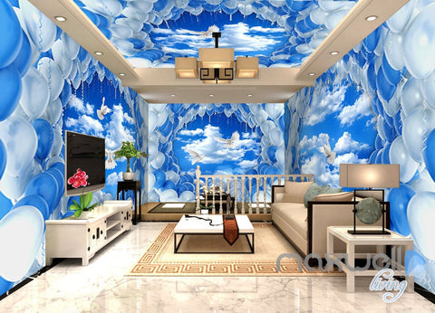Image of 3D Pigeons White Blue Balloon Sky Entire Living Room Wallpaper Wall Mural Decal Art IDCQW-000302