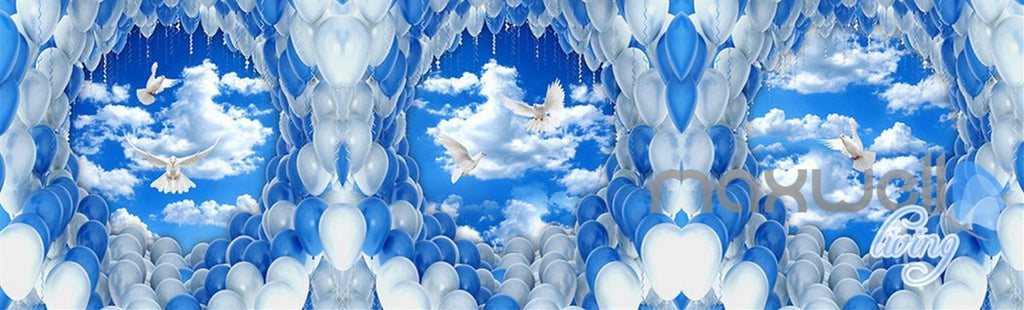 3D Pigeons White Blue Balloon Sky Entire Living Room Wallpaper Wall Mural Decal Art IDCQW-000302