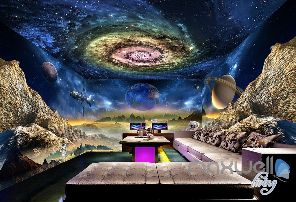 3D Galaxy Swirl Space Explore Science Entire Living Room Wallpaper Wall Mural Decal Art IDCQW