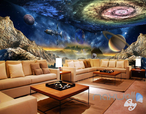 Image of 3D Galaxy Swirl Space Explore Science Entire Living Room Wallpaper Wall Mural Decal Art IDCQW-000304