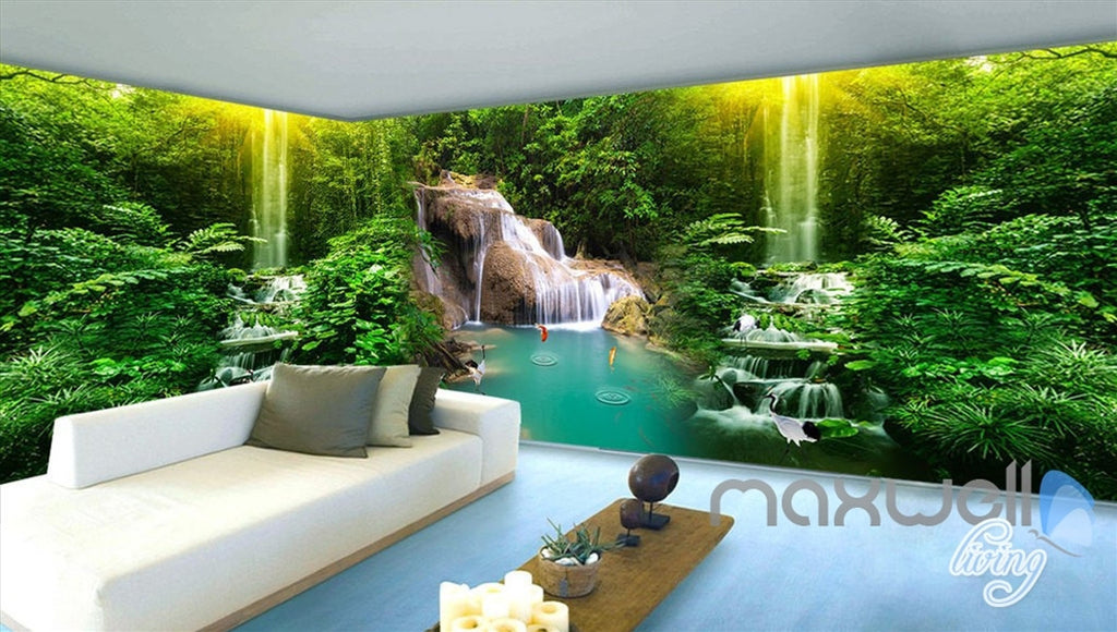 3D Waterfall Pond Fish Entire Living Room Bedroom Wallpaper Wall Mural Decal Art Prints IDCQW-000305