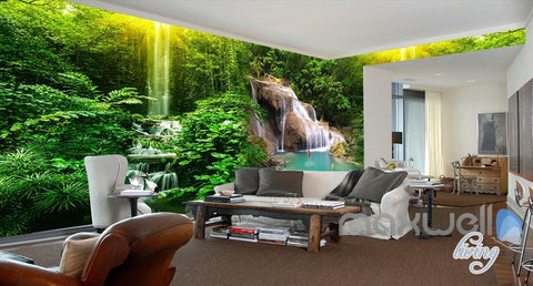 Image of 3D Waterfall Pond Fish Entire Living Room Bedroom Wallpaper Wall Mural Decal Art Prints IDCQW-000305