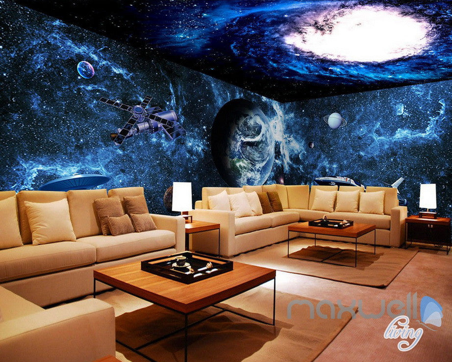 3D Earth Spacecraft Science Explore Entire Living Room Business Wallpaper Wall Mural Decal IDCQW-000306