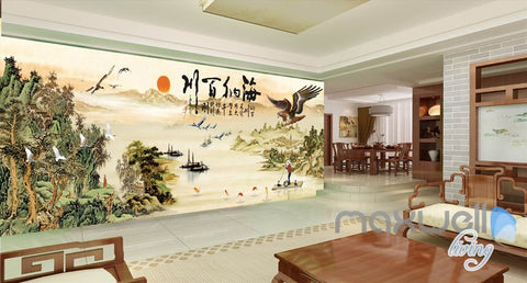 3D Classic Chinese Painting Eagle Entire Living Room Business Wallpaper Wall  Mural Decal IDCQW 000307 Part 64