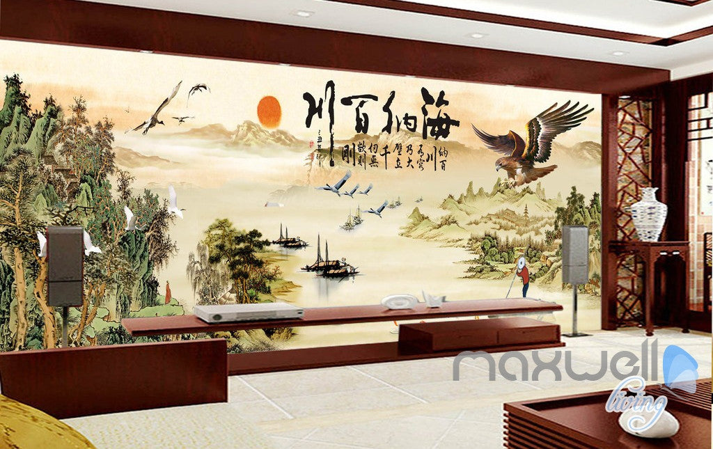 3d Classic Chinese Painting Eagle Entire Living Room Business