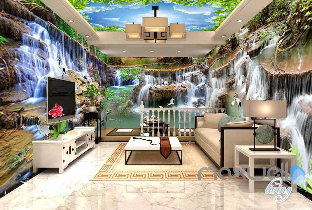 3d long waterfall pond entire living room business for Waterfall in living room design