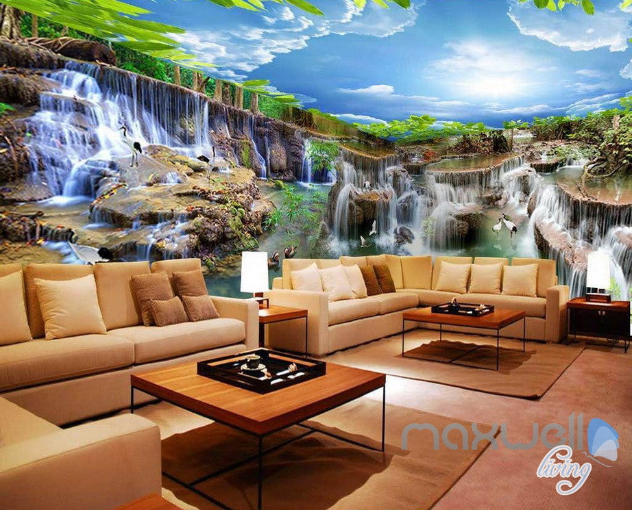 3D Long Waterfall Pond Entire Living Room Business Wallpaper Wall Decal Mural IDCQW-000308