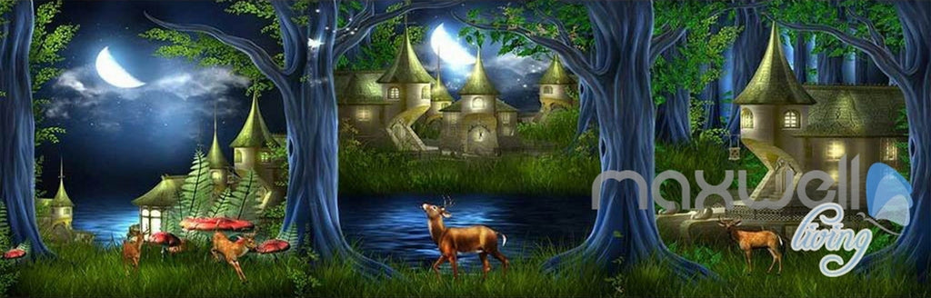 3D Fairy Tale Forest Village Deer Entire Kids Room Wallpaper Wall Decal Mural Art Prints IDCQW-000309