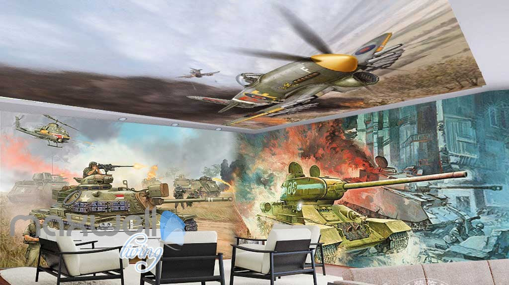 3D Fighter Plane Ceiling Tank Wall Murals Wallpaper Decals Art Print Decor IDCQW-000310