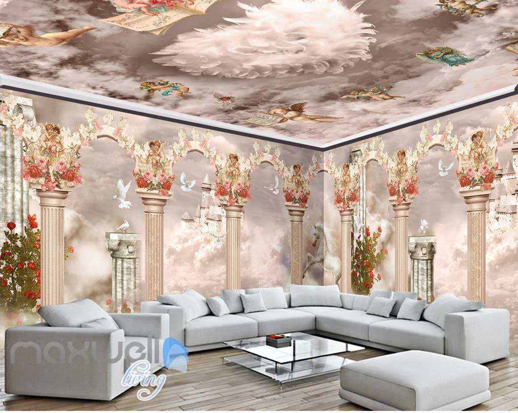 3d little angel ceiling pillar wall murals wallpaper for Wallpaper decor