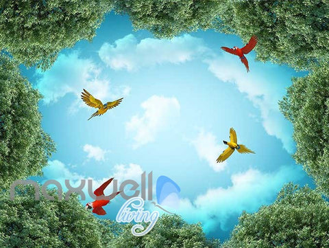 Image of 3D Peacock Mysterious Forest Parrot Wall Murals Wallpaper Decals Art Print IDCQW-000313