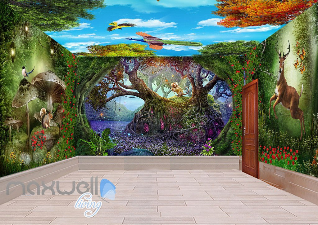 3D Fairy Tale Land Deer Squiral Wall Murals Wallpaper Decals Art Prints IDCQW-000318
