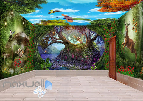 Image of 3D Fairy Tale Land Deer Squiral Wall Murals Wallpaper Decals Art Prints IDCQW-000318