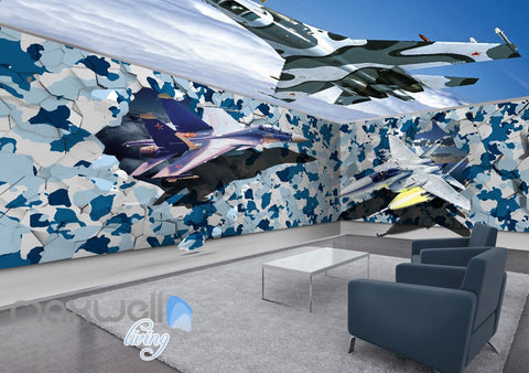 Image of 3D Fighter Plane Blue Sky Entire Room Ceiling Wall Murals Wallpaper Decals Art IDCQW-000320