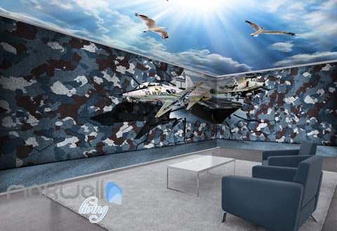 Image of 3D US Air Force Blue Sky Ceiling Wall Murals Wallpaper Decals Art Prints Decor IDCQW-000321