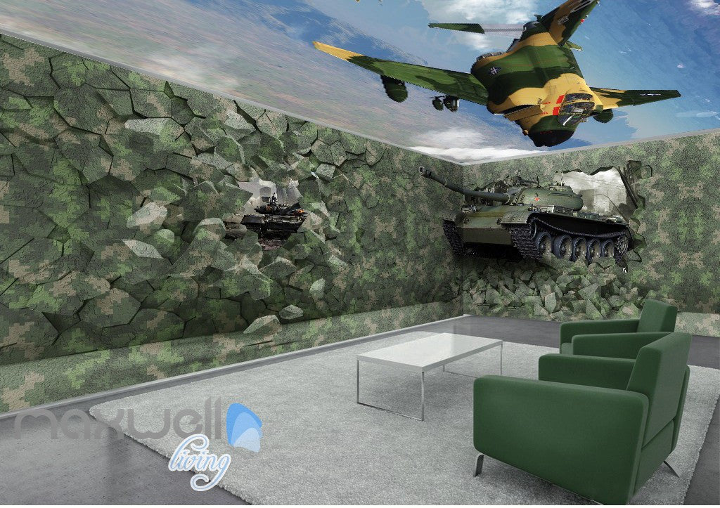 3D Tank Break Wall Air Force Sky Wall Murals Wallpaper Decals Art Prints Decor IDCQW-000322
